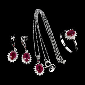 Oval Red Ruby 7x5mm Cubic Zirconia White Gold Plate 925 Sterling Silver Sets