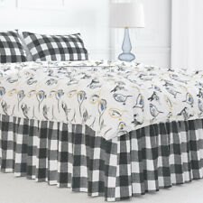 Carolina Linens Gathered Bedskirt in Anderson Black Buffalo Check Plaid