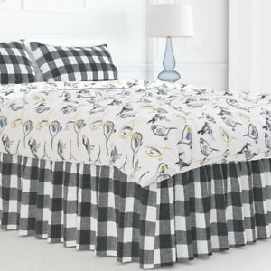 Carolina Linens Gathered Bedskirt in Anderson Black Buffalo Check Plaid