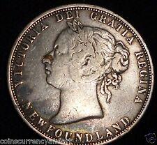 1881 Newfoundland  CANADA 50 Cents. Fifty Cents . Half Dollar.  Silver Coin