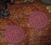 "2 Primitive Antique Vtg Style Braided Cotton Candle Mat 4"" Trivet Coasters #19"