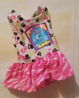 BARBIE DOLL CLOTHES PET PALS SKIPPER 1991 PINK WHITE BLUE PUPPY DOG PRINT DRESS