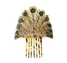 Best Hold Art Deco Mantilla Peineta Faux Tortoise Ornate Shell Hair Comb Peacock