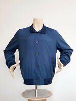 Herno Flight Bomber Jacket Blue Men's Size 56 Button Down Lightweight Rare $570