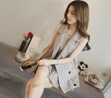 Women Korean Fashion Summer Sleeveless Jacket Blazer + Brace Pleated Dress Set