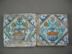 2 polychrome Antique Dutch tiles palmette flower 17th - free shipping