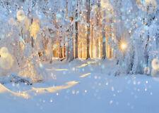 10x8ft Sunshine Winter Snow Forest Trees Photo Background Vinyl Studio Backdrop