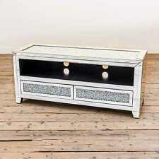 SILVER MIRRORED GLASS CRUSHED DIAMOND SPARKLY TELEVISION TV UNIT CABINET DRAWERS