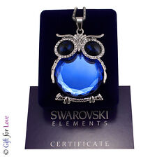 Collana lunga donna argento Swarovski Elements originale G4Love gufo cristalli