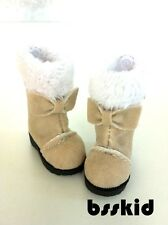 Blythe Pullip Dal Lati Yellow Doll Shoes KHAKI Winter Fur Boots