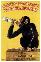 VINTAGE LIQUOR POSTER Anisetta Evangelisti Liquore da Dessert Monkey Print 24x36
