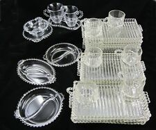 HAZEL ATLAS CANDLEWICK LUNCHEON PLATE CUP Cream Sugar Divided RELISH TRAY Glass