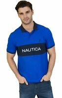 Nautica Mens Ribbed Trim Classic Fit Cotton Short Sleeve Polo Shirt Royal Blue L