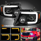 For 2004-2008 F150 Led Sequential Signal Bar Black Projector Headlights 04-08