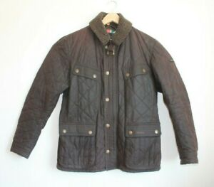 Barbour International Brown Quilted Speedometer Wax Jacket Size M Excellent Con