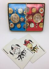 Vintage 1960's Double Twin Deck  Playing Cards Groovy Mod Watches Pink & Blue