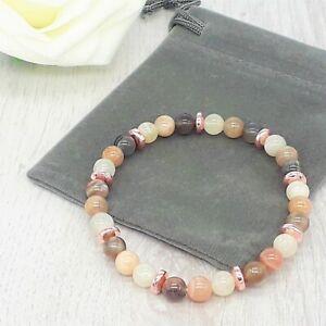 Handmade Natural Moonstone Gemstone Stretch Bracelet & Velvet Pouch.