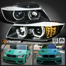 Black 2006-2008 BMW E90 3-Series 4Dr LED [Facelift 3D Halo] Projector Headlights