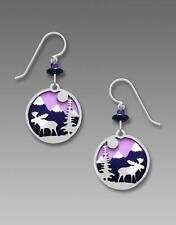 Sienna Sky Earrings Purple Mountain Disc with Shiny Silver Tone Moose Overlay