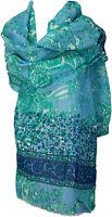 Sommer Schal Baumwolle Seide bedruckt Blau Grün scarf stole cotton silk summer