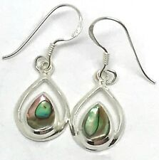 Abalone paua pear drop earrings, solid Sterling Silver, New, actual ones. UK.