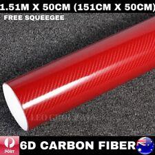1.51M X 50CM 6D RED SUPER ULTRA GLOSS CARBON FIBRE FIBER VINYL CAR WRAP FILM 4D