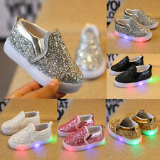 b052f0c67 Fashion Kids Toddler Baby Girl Leather Lighted Sneakers Soft Crib Shoes  Moccasin