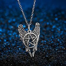 FREE GIFT BAG Silver Plated Guardian Angel Pentacle Witchcraft Necklace Chain