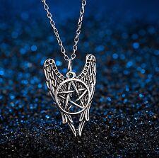 FREE GIFT BAG Silver Plated Angel Wings Pentacle Pentagram Ladies Necklace Chain