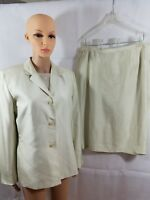 Travis Ayers Suit Silk Ivory 3-piece Jacket Skirt Top Lined Career Dressy Sz 14