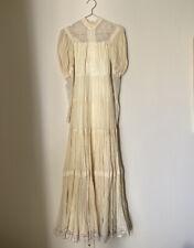 vintage gunne sax dress Boho Pleated Cotton Ivory Puff Sleeve Wedding Dress Xs