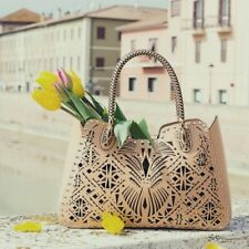 CROMIA 'CLEOPATRA' Perforated Leather Convertible Tote Handbag Made In Italy