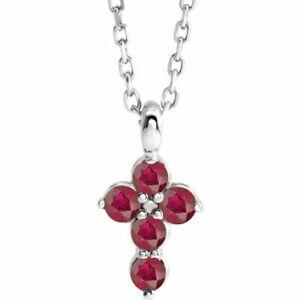 "Genuine Ruby Cross 16-18"" Necklace In Platinum"