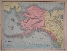 1895 Trading Post Map ALASKA TERRITORY Sitka Fort Yukon Alaganik Village Barrow