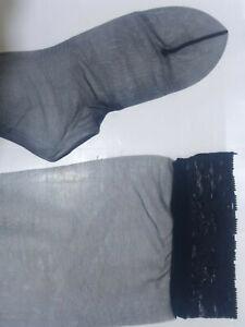 Dior Lace Top Stockings Select Irregulars Jet Black 8.5 - 9 Nylon New Vintage
