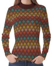 Color Dot Geometric Women High Neck Turtleneck Pullover T-shirt b20 acq00495