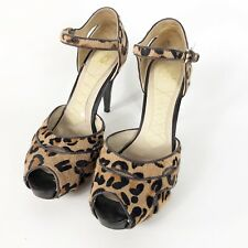Joan & David Animal Print Calf Hair Heels 7.5 M Ankle Strap Peep Toe Black Tan
