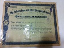 INDIAN IRON STEEL CO LTD CALCUTTA STOCK SHARE CERTIFICATE DESIGN BORDER 1937