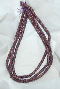 """ONE 16"""" Strand - PURPLE SPINY OYSTER 6MM HEISHI HESHI BUTTON BEADS"""