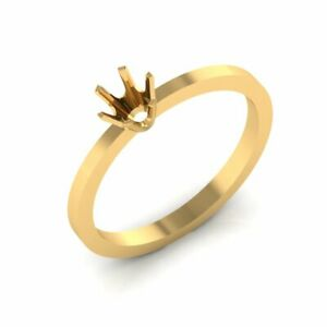 Real 14K Yellow Gold Ring Setting Plain Solitaire Semi Mount Engagement 4.5 mm
