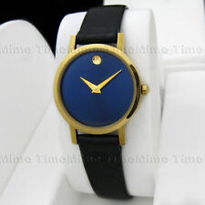 Women's Movado MUSEUM CLASSIC Gold Case Navy Blue Dial Leather Swiss Watch