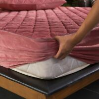 Velvet Quilted Thicken Mattress Cover Soft Plush Warm Bed Fitted Sheet Protector