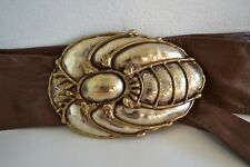 Handmade Vintage Beetle Insect Art Brass Metal OOAK Buckle w/ Leather Cinch Belt