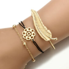 Rope Hollow Flowers Leaves Chain Bracelets 3Pc/Set Fashion Women Cute Gold Black
