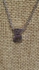 PETITE RHODIUM PLATED LOWER CASE g INITIAL LETTER PENDANT NECKLACE