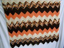 Vintage  70's Handmade brown/orange Chevron Afghan Blanket Throw 48x72