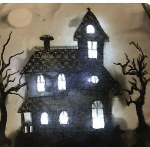 Halloween Lighted Haunted House Throw Pillow Spooky Holiday Cynthia Rowley NEW