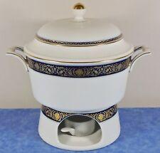 Kaiser Porcelain ECHT KOBALT Covered Vegetable Bowl, Warming Stand- Gold, Cobalt