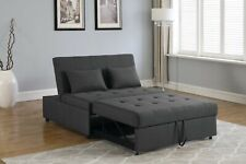 PERFECT FOR DORM 2 PERSON GREY LINEN SLEEPER SOFA BED LIVING ROOM FURNITURE