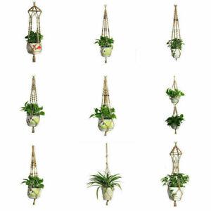 Plant Flower Pot Hanger Hanging Basket Bonsai Holder Jute Rope Home Garden Decor
